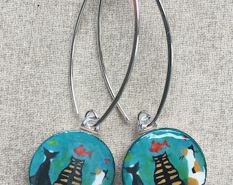 Kitty Earrings - Cat Earrings - Dream Cat Earrings - Cat Jewelry - Gift for Cat Lover - Gift for Cat Mom - Kitty Jewelry - Long Earrings