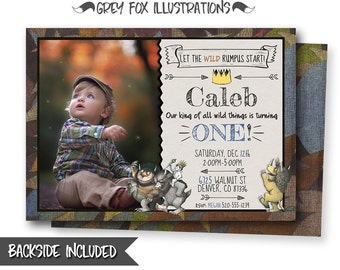 Where The Wild Things Are Invitation, Where The Wild Things Are Birthday Invitation, Wild Thing, Personalized, Picture, Photo, Printables