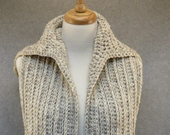 Crochet hooded scarf/ long scarf with hood/ crochet scoodie/ cream hooded scarf/ long winter scarf/ hooded scarf/ oversized hooded scarf