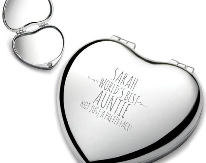 Personalised engraved AUNTIE heart shaped compact mirror birthday gift idea, Not just a pretty face, chrome plated - HEM-F2