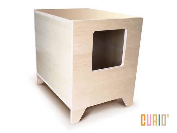 Curio in maple modern cat litter box designer cat house - Modern cat litter box furniture ...