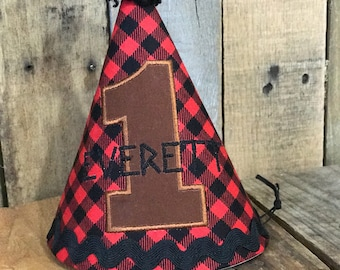 Lumberjack birthday party hat. Buffalo plaid birrhday hat