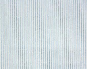 1950s Vintage Wallpaper by the Yard - Blue and White Pillow Ticking Stripe