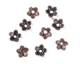 Antiqued Copper Plain 5 Petal Bead Caps - 6MM