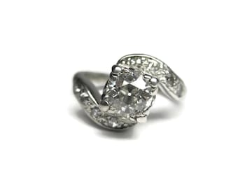 Antique Platinum .69 Carat Diamond Pinky Ring Size 2.5