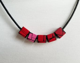 Handmade Wood Necklace Painted in Red