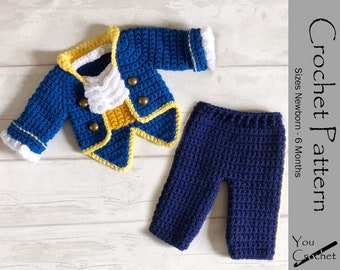 CROCHET PATTERN The Beast Jacket and Pants Set Instant Download PDF 3 Sizes Newborn - 6 Months Photo Prop Baby Beauty and the Beast Prince