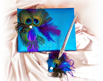 Peacock wedding turquoise and purple wedding guest book and pen set, Regency Purple ribbons