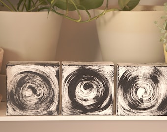 original tiny canvas painting acrylic nursery black white circles abstract modern 4inch square abstract  gallery wall shelf MINIMALIST