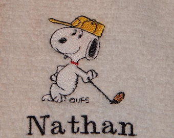 Peanuts Character: Golfing Snoopy #1 - Embroidered Towel (terry cloth or flour sack)