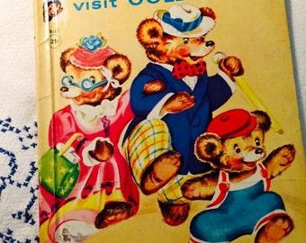 Vintage 1950 The Three Bears Visit Goldilocks Rand McNally Elf Book Childrens