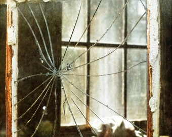 Shattered Broken Window Abandoned Home Rustic Architecture Rural America Fine Art Photography Print or Gallery Canvas Wrap Giclee