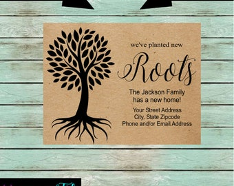 "New Home  ""Planted New Roots""  Tree We've Just Moved Cards Announcements Personalized Custom~ We Print and Mail to You"