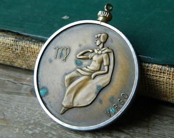 Vintage Virgo Zodiac Coin Pendant. Bronze Zodiac Two Sided Coin Pendant.