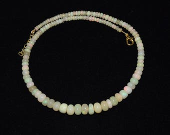 """Natural Welo Ethiopian Opal Beads Necklace for Women 4.2-9.1 MM 85 Cts. 16"""""""