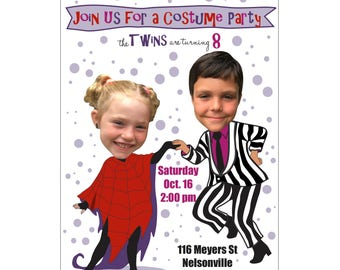 Halloween Costume Party, BeatleJuice Birthday Party, Costume Party, Photo Birthday Invittion, Halloween Party, Twin Birthday Party