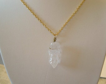 Quartz Crystal Necklace Crystal Point Pendant Quartz Pendant Stone Necklace, Crystal Pendant Wire Wrapped Necklace, Jewelry