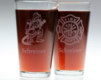 Firefigher and Maltese Cross etched Pint Glass set (2 glasses) Personalized ,fireman,christmas,dad,father,uncle,brother,spouse