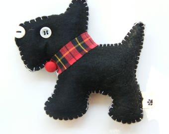Traditional Black Christmas Ornament Pincushion Charm Doggie  Scotty Felt Charm