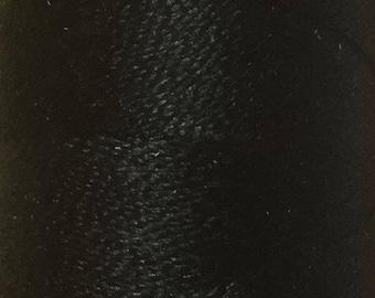 Black, Silk Machine Threads, 100% Mulberry Silk, Plain Dyed, Luxury Silk Threads, Spun Silk, Solid Colours, 300m, 325yds
