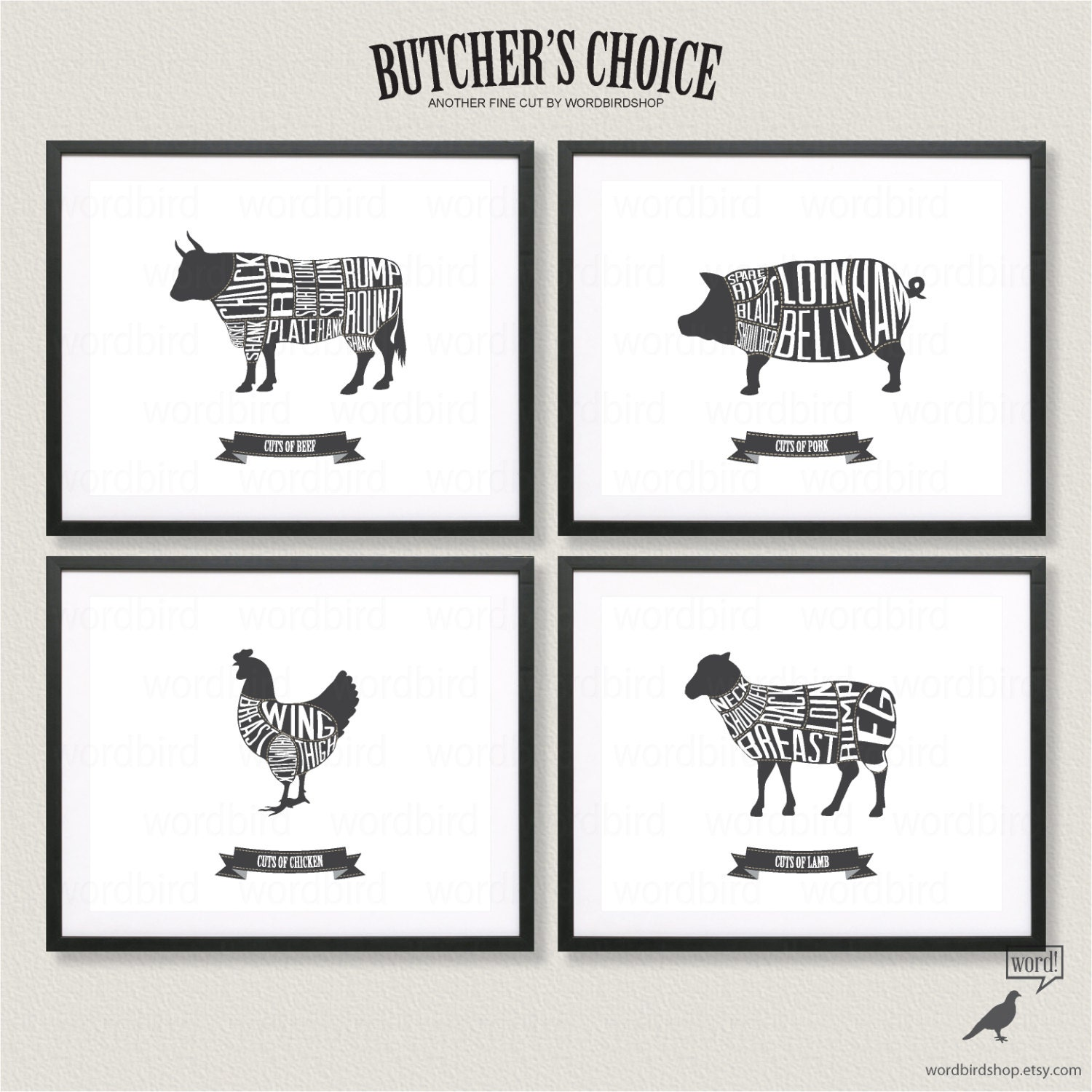 Butcher Chart Set Beef Pork Chicken And Lamb Butcher Charts for Beef Meat Cuts Chart  1lp1fsj