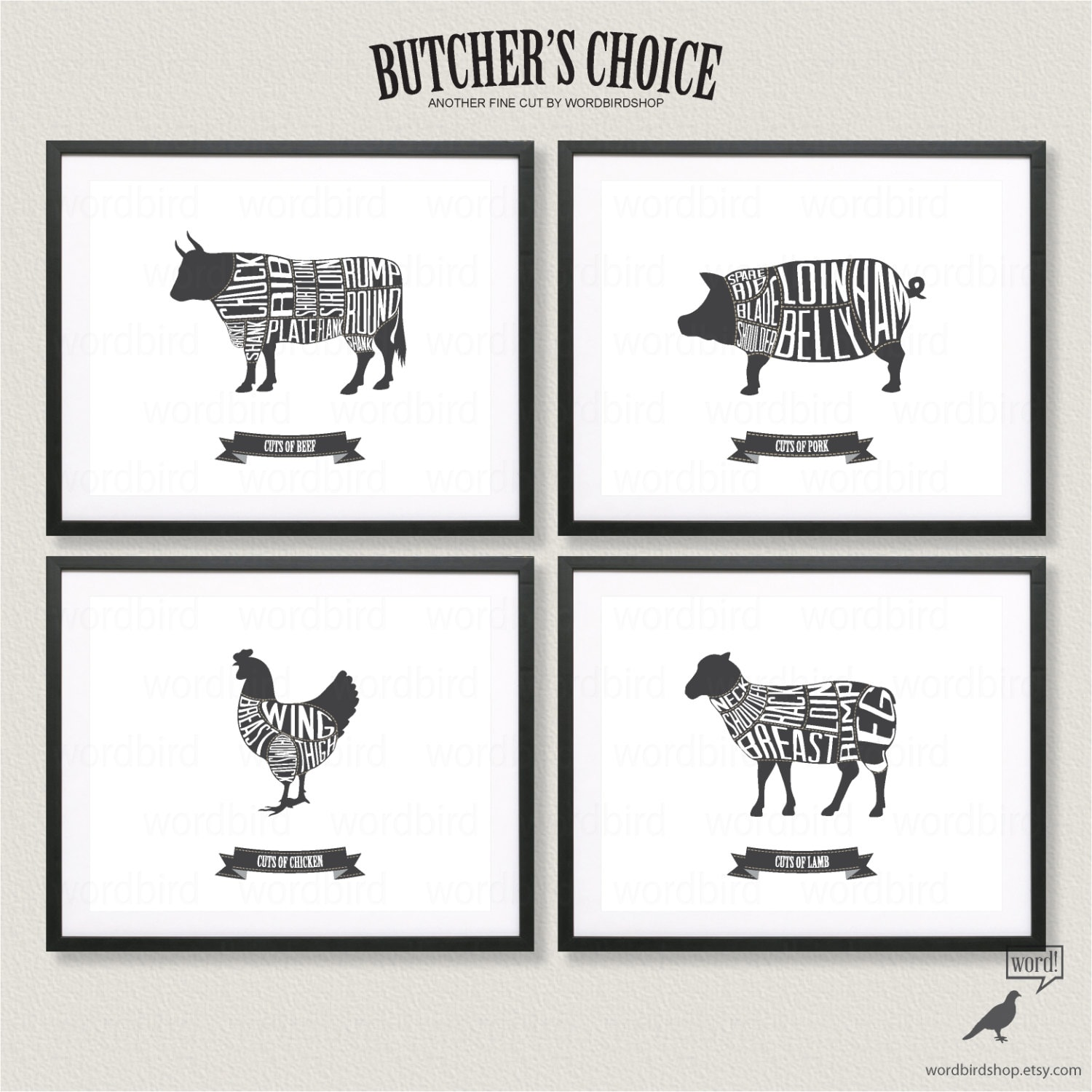 Butcher Chart Set Beef Pork Chicken And Lamb Butcher Charts for Chicken Meat Cuts Chart  55nar