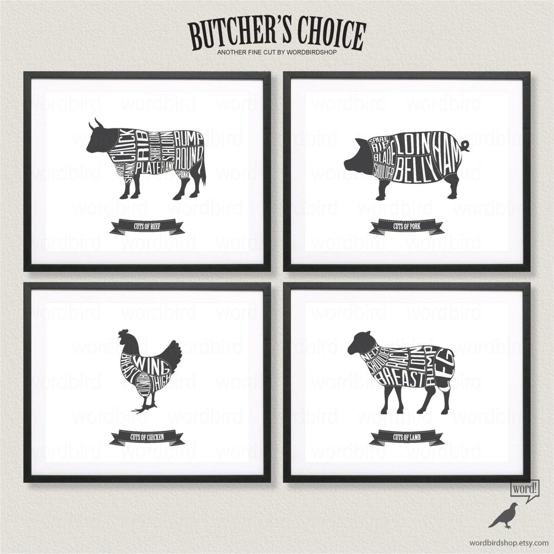 Butcher Chart Set Beef Pork Chicken And Lamb Butcher Charts