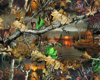 RealTree Cotton Fabric with Lakeside Sunset-Realtree Camo Cotton Fabric-Sold By the Yard-100% Cotton