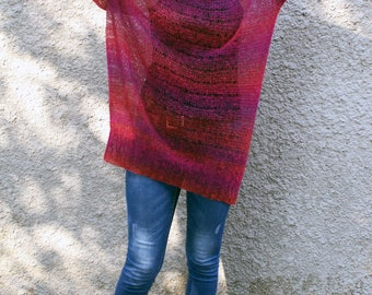 Oversized long mohair sweater dress Loose knit jumper plus size tunic sheer knit V neck pullover bohemian clothing grunge top Made to order