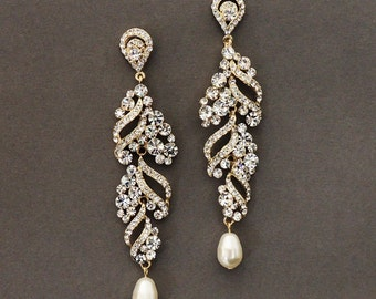 ELSA wedding jewelry, bridal earrings, Gold rhinestone dangle earrings, crystal and pearl earrings, wedding accessory, bridal jewelry