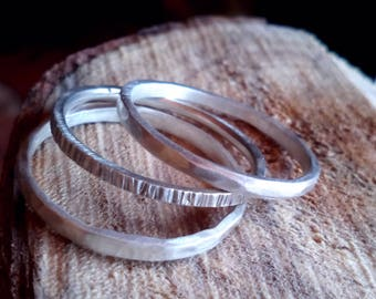 Rustic Stack Ring - 100% Recycled Sterling Silver