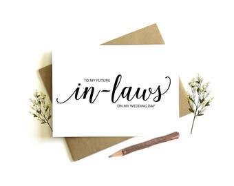 Wedding Day Card - On My Wedding Day Card, Wedding Day Card In-Laws, Wedding Day Card to Parents, To My Future In-Laws, To My In-Laws,