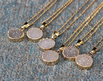 Druzy necklace etsy aloadofball Gallery