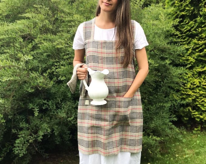 Crafts Pinafore Apron Linen, Tartan Japanese Apron, Kitchen Apron, Crafts Apron, Womens Apron, Vintage, Handmade, Cross over apron, Japanese