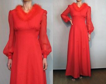 SALE 70s Red BOA Maribou Feather Maxi Dress / Vintage 1970s Puffed Balloon Sleeve Maxi Dress / Crimson Red Maxi Dress / Maribou Maxi Dress