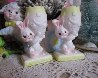 Vintage Napcoware Easter Bunny Figurines-Candle Stick Holders