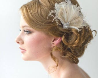 Wedding Feather Fascinator, Bridal Feather Headpiece, Feather Fascinator, Wedding Feather Hairpiece
