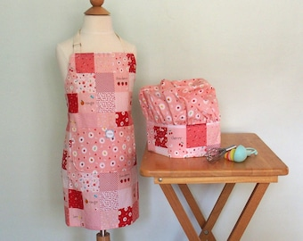 Pink Girls Apron and Chef with Strawberry, Cherry, Orange, Pull On Apron, No Neck Ties, Adjustable Neck, Riley Blake Sweet Orchard
