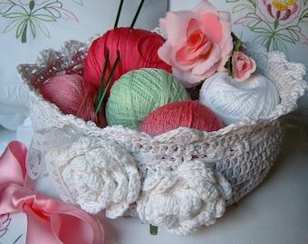 Crochet basket. Light grey cotton basket. Decorative roses applied. Romantic Crochet basket. Cotton box