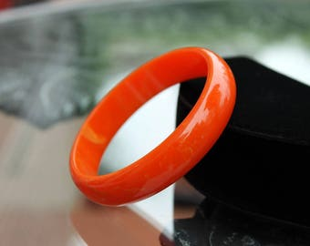 Bright Orange Marbled Bakelite Bangle, Bakelite Jewelry