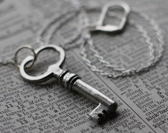 Skeleton Key Necklace Silver Unlocked Secrets