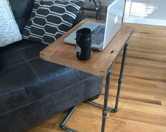 Reclaimed Wood Laptop Table  ||  Industrial Laptop Table  ||  Wood & Iron Pipe Laptop Table