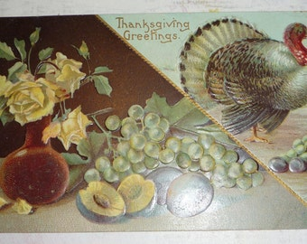 Turkey With Grapes, Plums and Yellow Roses Antique Thanksgiving Postcard