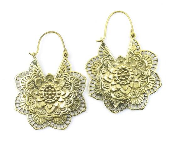 Large Brass Mandala Earrings, Tribal Brass Earrings, Festival Earrings, Gypsy Earrings, Ethnic Earrings, Mehndi Brass Earrings
