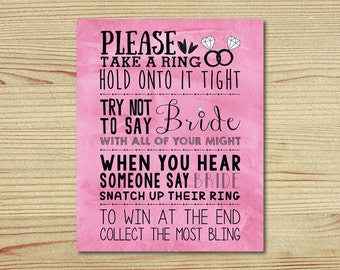 Bridal Shower Ring Game, 8x10, Use in a Frame 1 Per Table, Pink Chalkboard, Bridal Shower Games, Please Take a Ring Game