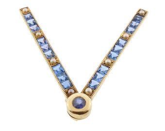 "14K Gold Sapphire Pearl World War ll ""V"" Victory Pin"