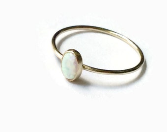 14k gold filled opal ring, white opal ring, gold stacking ring, yellow gold filled ring