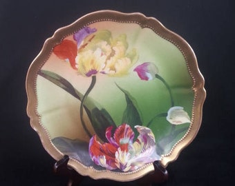 OE and G Royal Austria Cabinet Plate, Orchiades Pattern, Hand Painted, Artist Martina, Collectible