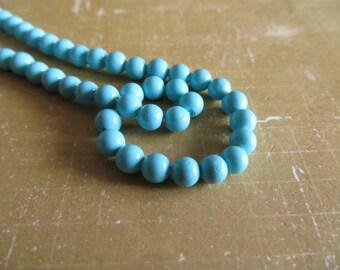 Lot 10 cyan blue shell 4mm beads