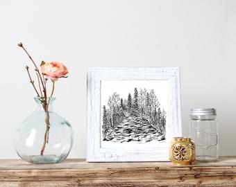 Rushing River Illustration- Giclee Fine Art Print - Pen and Ink Illustration - River lllustration - Artist Rachael Caringella